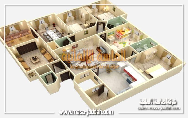 تحديد مساحة كل غرفة و عدد قطع الاثاث بها